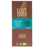 Lovechock raw sweet nibs & sea salt 85%