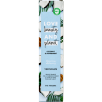 Love Beauty And Planet coconut and peppermint blooming whitening tandpasta