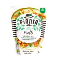 Pianta piselli pastasauce with vegan sausage and veggies